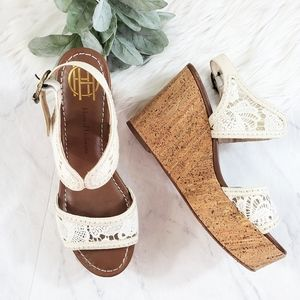 House of Harlow Gladys White Crochet Cork Wedges